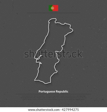 Portuguese Republic isolated map and official flag icon. vector Portugal political map 3d illustration. European State travel banner template - stock vector