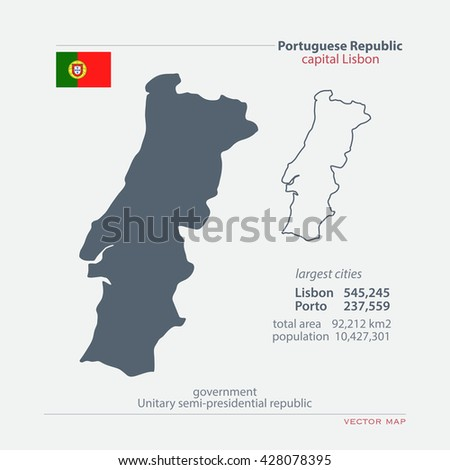 Portuguese Republic isolated maps and official flag icon. vector Portugal political map icons with general information. European State geographic banner template  - stock vector