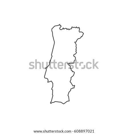 Map Black Outline Portugal Stock Vector Shutterstock - Portugal map black and white