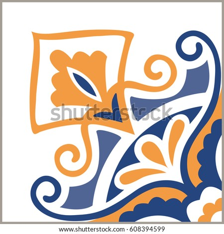 Portuguese tiles pattern. Vintage background - Victorian ceramic tile in vector