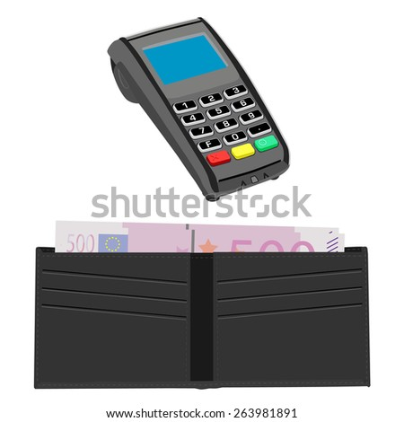 Pos terminal and grey wallet with five hundred euro, payment icons, shopping icons - stock vector