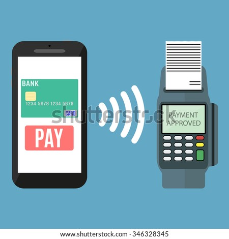 Pos terminal confirms the payment by smartphone. Vector illustration in flat design on blue background. nfc payments concept - stock vector