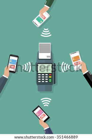 Pos terminal confirms the payment by smartphones. Vector illustration in flat design on green background. nfc payments concept - stock vector