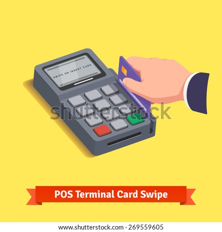 POS terminal transaction. Hand swiping a credit card. Flat style vector icon.  - stock vector