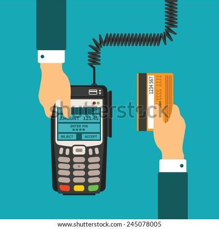 Pos terminal usage vector concept in flat style - stock vector