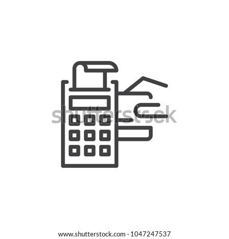 pos terminal credit card receipt outline stock vector 1047247537