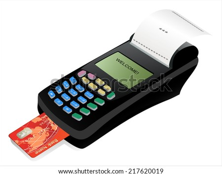 POS terminal with inserted credit card and printed reciept. - stock vector