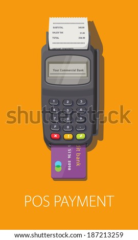 POS terminal with inserted credit card and printed reciept. Modern flat design element. EPS10 vector. - stock vector