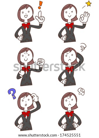 Pose and gesture of six female students - stock vector