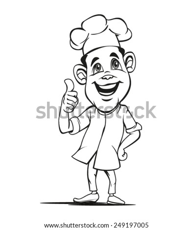 Pose Chef who thumbs his hands, very suitable as a symbol or logo of the restaurant business - stock vector