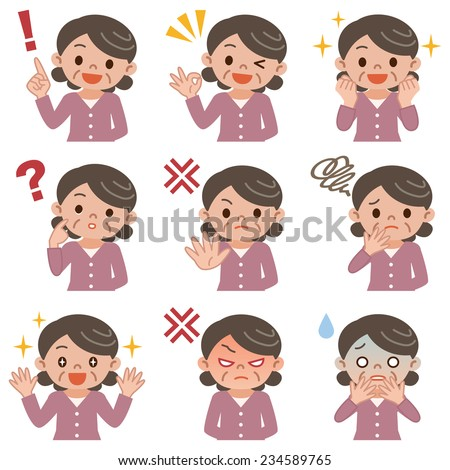 Pose set of senior woman - stock vector