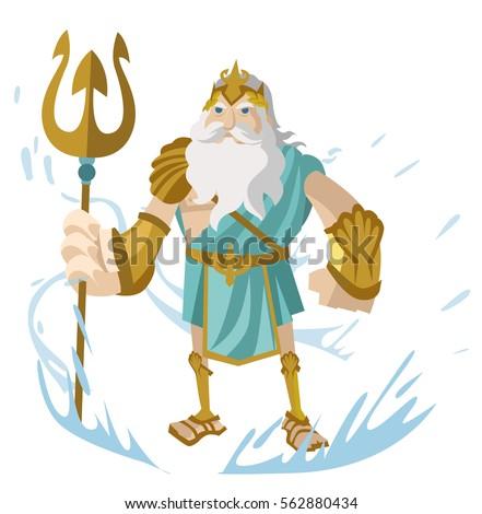 poseidon neptune greek roman god sea stock vector 2018 562880434 rh shutterstock com