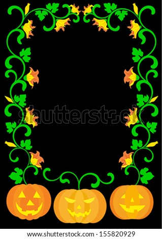 Poser Halloween. Frame with flowers - stock vector
