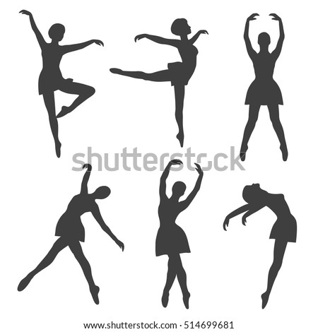 Poses of ballet: hand drawn icons set. Big collection of sketch objects. Black and white illustration with girls dancing