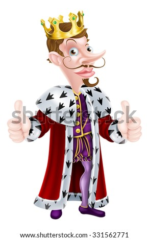 Posh snooty looking cartoon king character wearing a crown giving a thumbs up hand gesture - stock vector