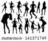 Posing woman silhouettes - stock