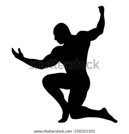 Position of bodybuilder man - black silhouette - vector - stock vector