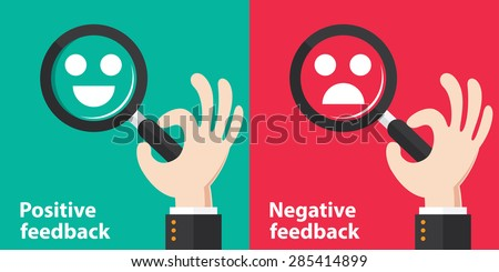 Positive and Negative feedback concept background. Vector illustration. Minimal and flat design - stock vector