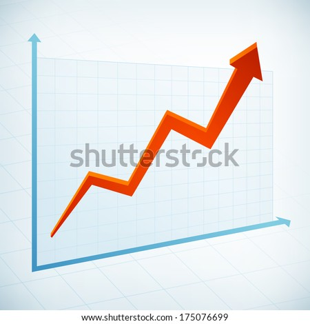 Positive business graph width red arrow vector icon - stock vector