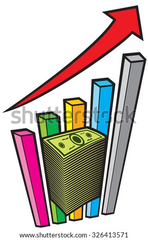 positive business graph with arrow and big stack of money - business concept - stock vector