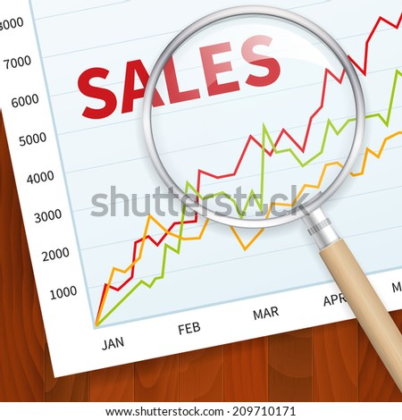 Positive business sales chart on wood vector background with magnify glass. layered. - stock vector
