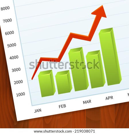 Positive business sales graph on wood vector background. layered. - stock vector