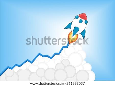 Positive Increasing Growth Chart Launching Cartoon Stock Vector