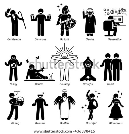 Positive Personalities Character Traits. Stick Figures Man Icons. Starting with the Alphabet A. - stock vector