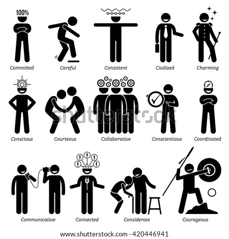 Positive Personalities Character Traits. Stick Figures Man Icons. Starting with the Alphabet C. - stock vector
