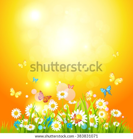 Positive summer backdrop with flowers and butterflies. Nature positive design for advertising, leaflet, cards, invitation and so on. Place for text. - stock vector