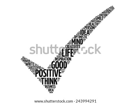 Positive thinking check mark, vector business concept words cloud - stock vector