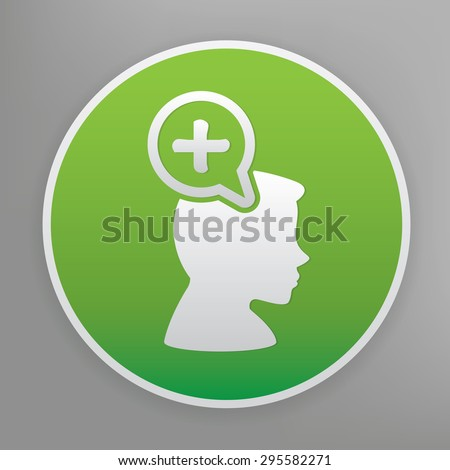 Positive thinking design icon on green button, clean vector - stock vector