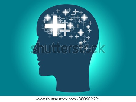 Positive thinking head graphic and plus arranged in a similar brain - stock vector