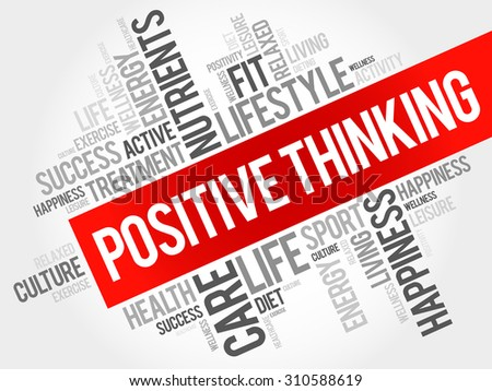 Positive thinking word cloud, health concept - stock vector