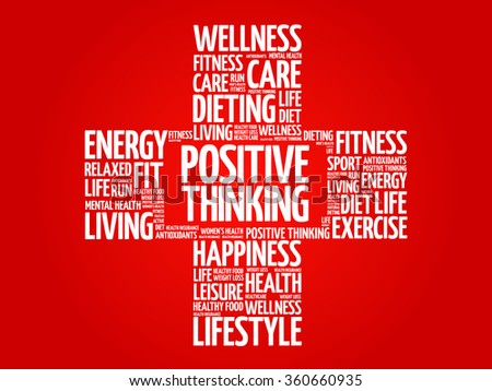 Positive thinking word cloud, health cross concept - stock vector