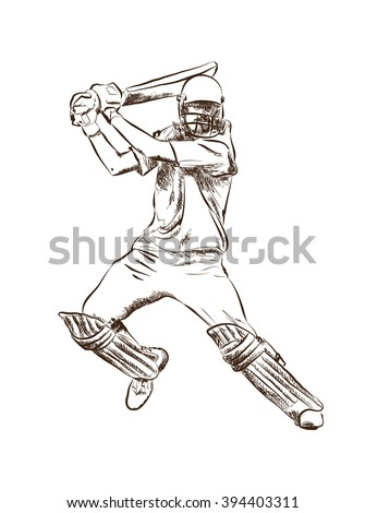 Poss of hitting ball in Cricket game. Abstract sketch vector. - stock vector