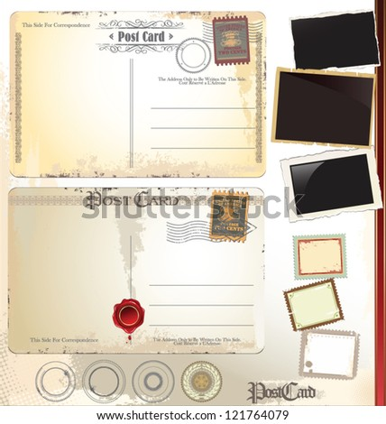 Post card set - stock vector