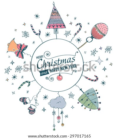 Post card with hand drawn watercolor christmas doodle. Vector illustration. - stock vector