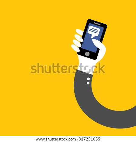 post facebook application phone in hand of businessman on yellow background vector - stock vector