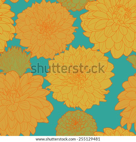 Post-impressionism sunny spring asters pattern - stock vector