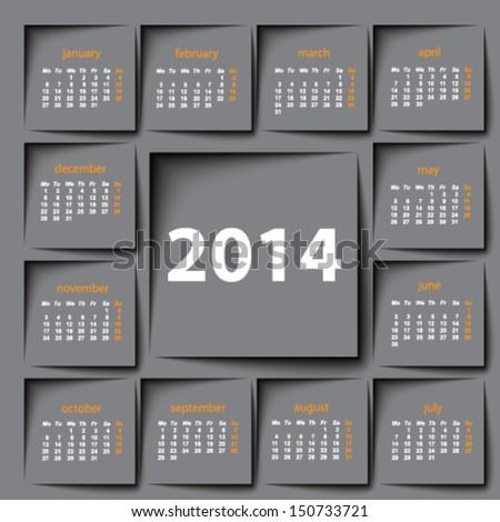 post it 2014 calendar - stock vector