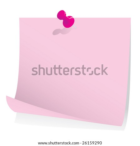 Post it note with push pin - stock vector