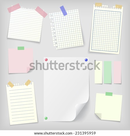 Post-it set of realistic sticky notes, lined and squared notebook papers and blank sheet mock-up with pins and stickers. Place for text. - stock vector