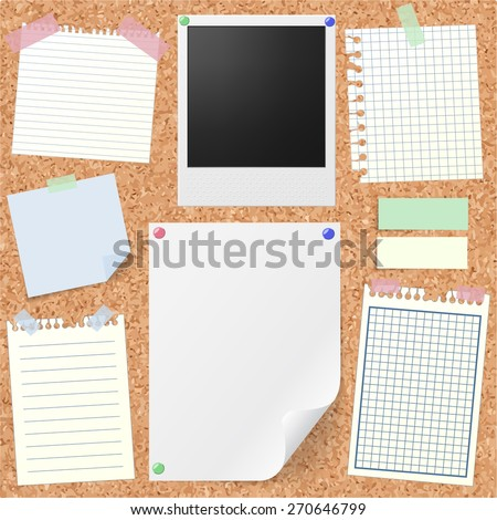 Post-it set of realistic sticky notes, lined and squared notebook papers, vintage photograph, blank sheet mock-up with pins and stickers. Place for text. Realistic cork board background. - stock vector