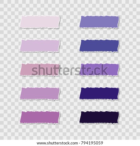 Post note sticker set isolated on transparent background. Paper sticky tape with shadow. Vector office color ultra violet post sticks for advertising design.