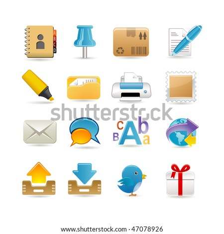 Post office icon set