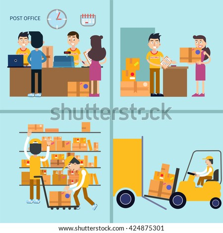 Post Office. Woman Receiving Parcel. Postal Service. Man Sending Letter. Postal Storage. Mail Service. Postman, Delivery Service, Send Parcel, Postage, Packaging, Mail Office. Vector illustration - stock vector