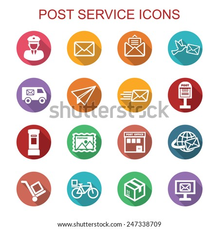 post service long shadow icons, flat vector symbols - stock vector