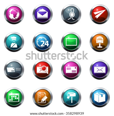 post service round glossy web icon set