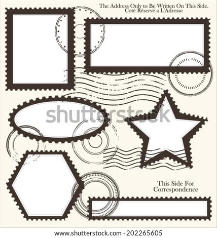 Post stamp set, vector illustration - stock vector